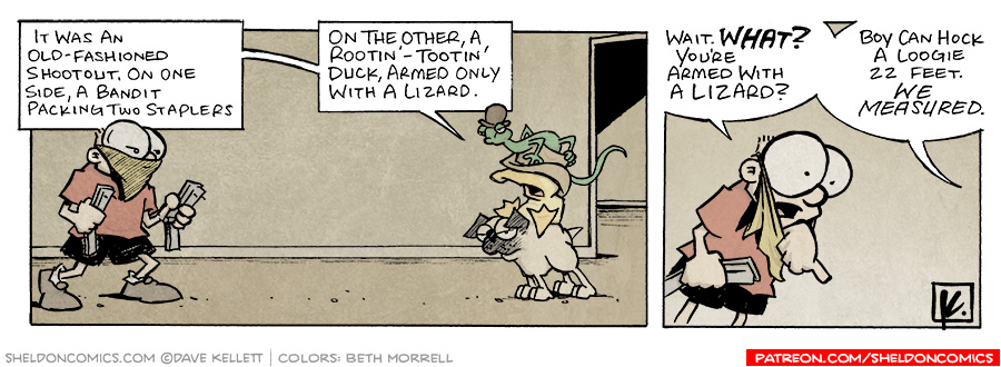 strip for July / 15 / 2006 - Armed with a Lizard...