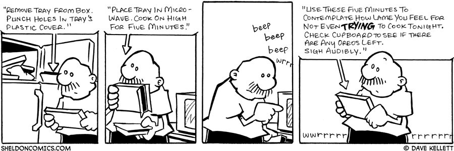strip for July / 23 / 2007 - Will Gramp follow the directions on his microwavable dinner?