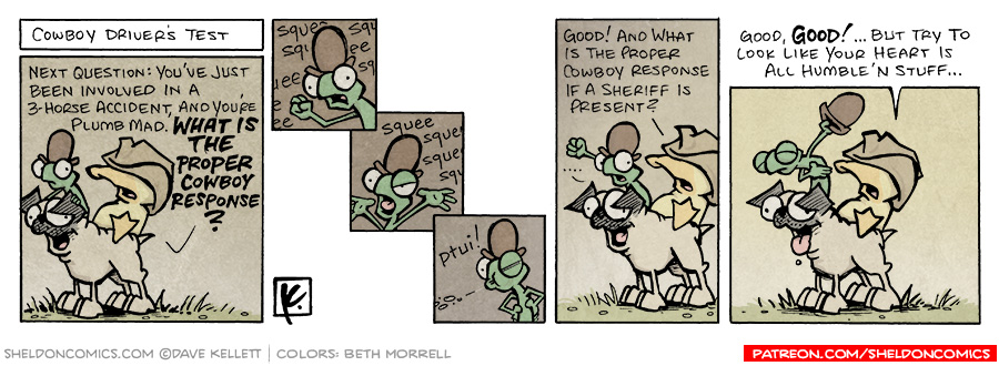 strip for September / 4 / 2007 - What is the proper cowboy response when you get into an accident?