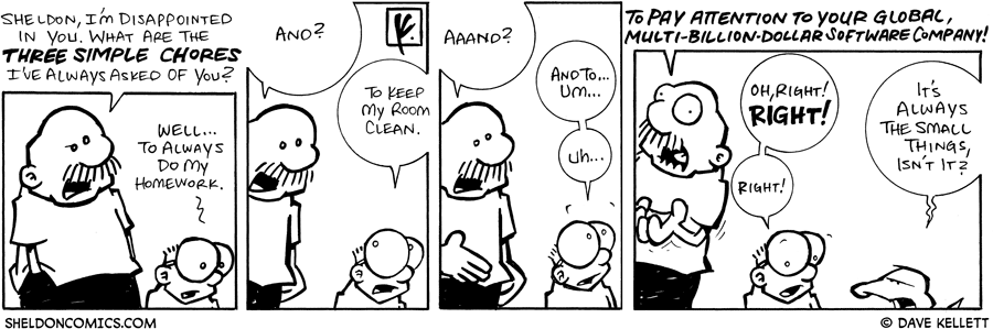 strip for September / 11 / 2007 - What are the three chores Sheldon has to do?