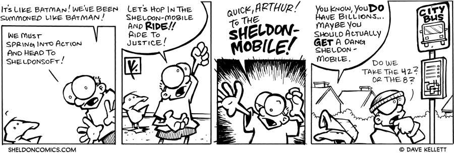 strip for September / 12 / 2007 - What wheels should Sheldon and Arthur ride to work?