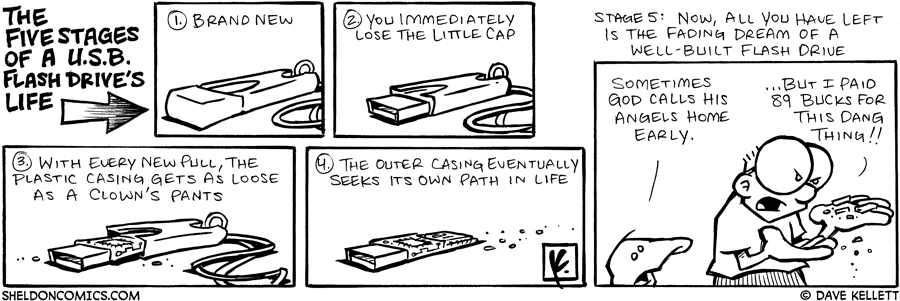 strip for September / 20 / 2007 - What are the five stages of a USB flash drive's life?