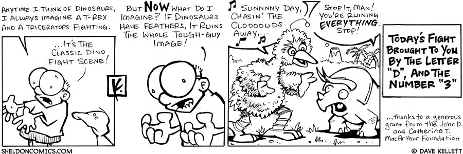 strip for September / 26 / 2007 - What does Sheldon imagine when he thinks of two dinosaurs fighting?