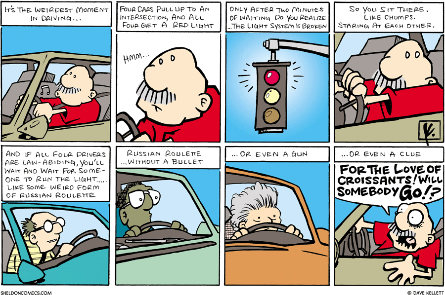 strip for October / 7 / 2007 - What do you do when the traffic light is broken?