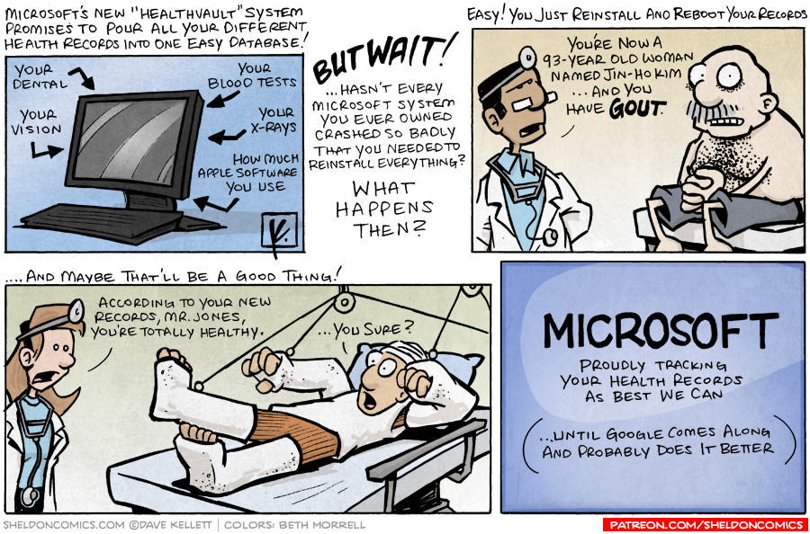 strip for October / 12 / 2007 - Microsoft should track our health records because...