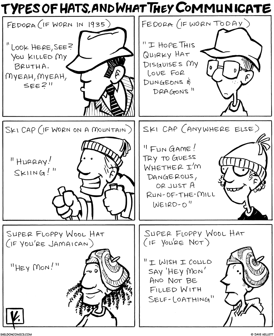 strip for October / 16 / 2007 - What does my hat say about me?