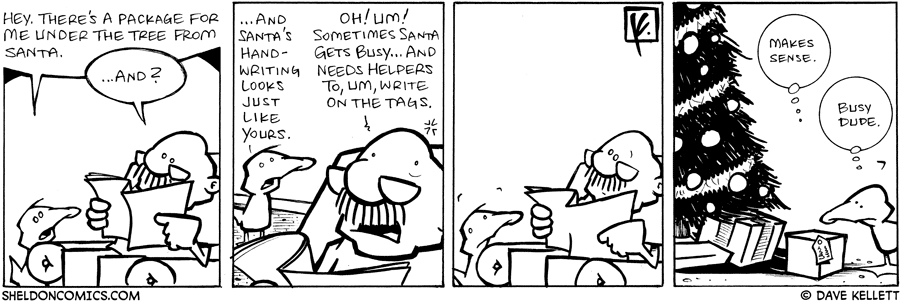 strip for December / 18 / 2007 - Why is Gramp's handwriting on Arthur's present?