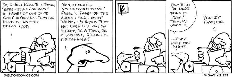"strip for December / 27 / 2007 - How does Arthur feel about ""Green Eggs and Ham?"""