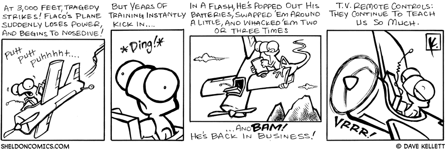 strip for January / 7 / 2008 - Flaco's plane starts to nosedive so he...