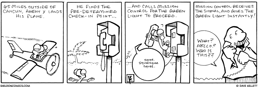 strip for January / 8 / 2008 - Flaco lands his plane and...