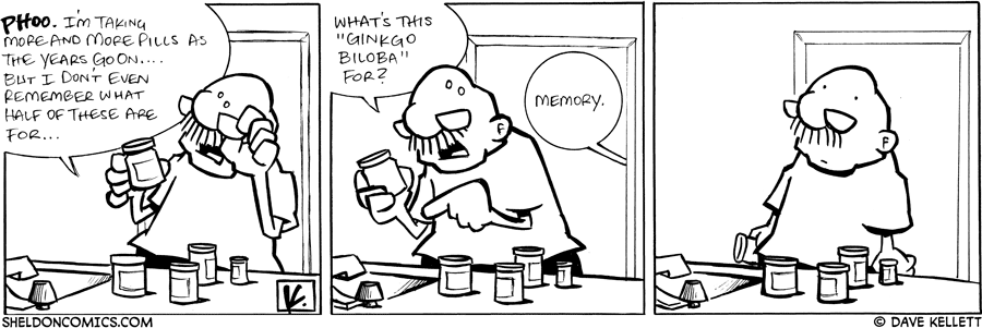 strip for February / 9 / 2008 - Gramp's pills make him realize...