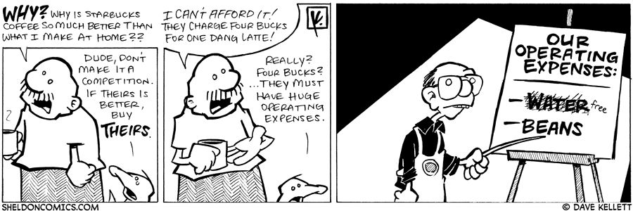 strip for March / 8 / 2008 - How is Starbucks coffee better than what Gramp has at home?