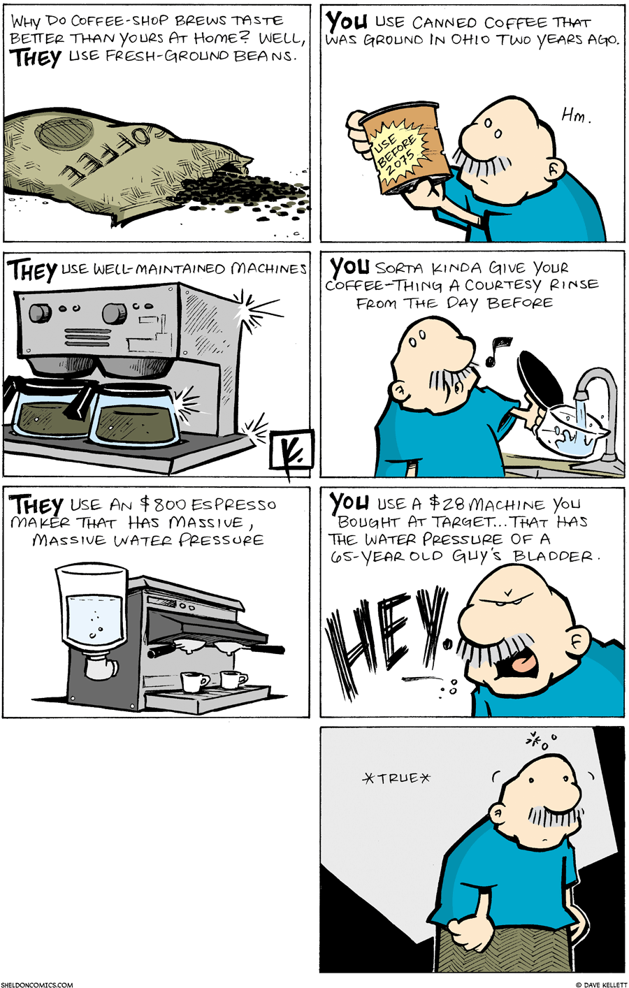strip for March / 9 / 2008 - What is the difference between how you brew coffee and how a coffee shop does?