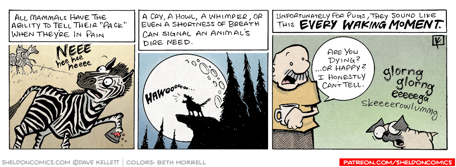"strip for March / 12 / 2008 - How do Mammals tell their ""pack"" that their in pain?"