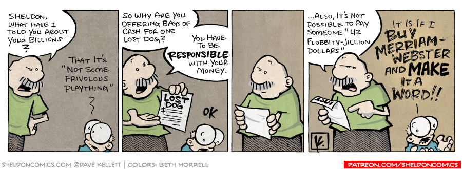 strip for April / 2 / 2008 - What does Gramp think of the lost dog poster?