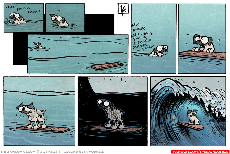 strip for April / 10 / 2008 - Oso paddles in the water and...