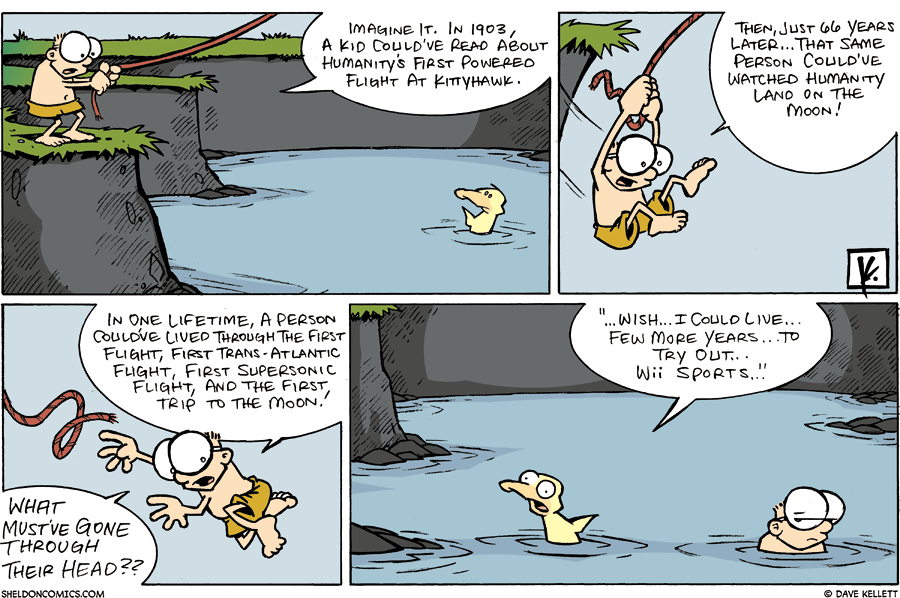 strip for April / 20 / 2008 - What goes through Sheldon's head as he jumps into the pond?