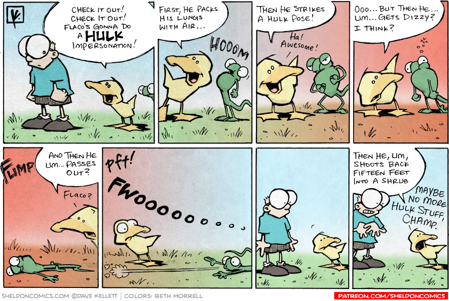 strip for May / 10 / 2008 - Flaco does a Hulk impersonation and...