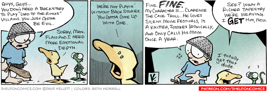 "strip for June / 4 / 2008 - Why do you need a backstory to play ""Lord of the Rings?"""