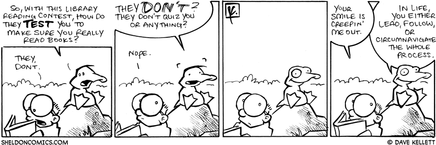 strip for June / 30 / 2008 - How does the Library test you to make sure you really read the book?