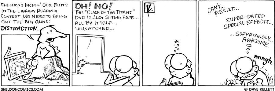 strip for July / 1 / 2008 - How does Arthur try to distract Sheldon from reading?