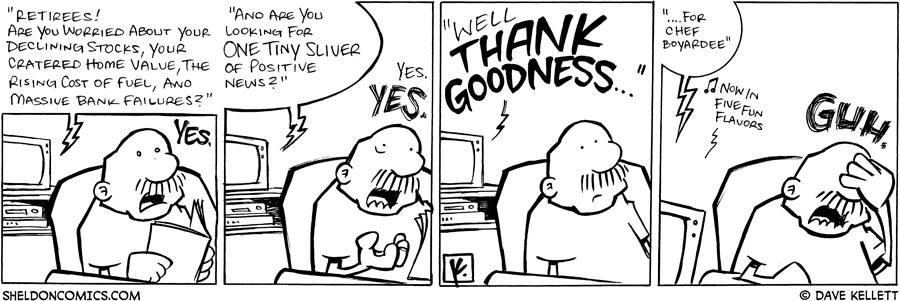 strip for July / 16 / 2008 - Gramps listens to the TV and...