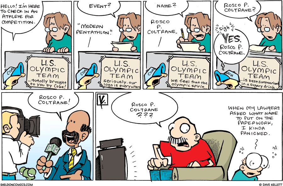 strip for August / 10 / 2008 - What happens to Arthur when he signs Flaco up at the Olympics?