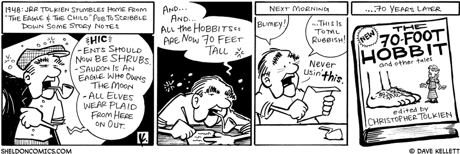 strip for September / 9 / 2008 - It's 1948, JRR Tolkien stumbles home and...