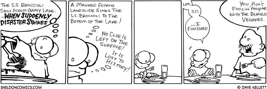 strip for September / 11 / 2008 - The S.S. Broccoli sails across gravy lake and...