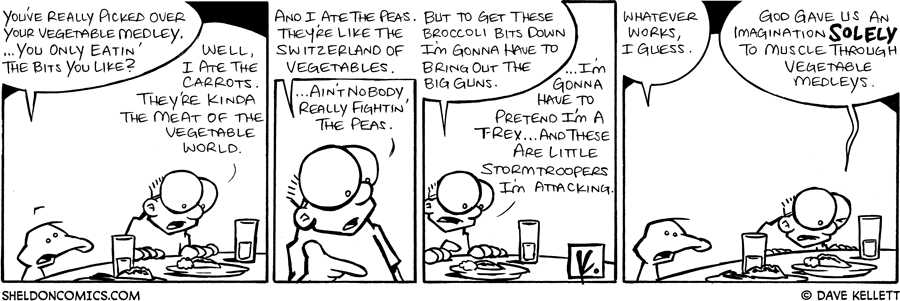 strip for September / 12 / 2008 - What does Sheldon like in a vegetable medley?