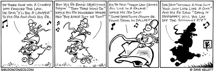 strip for September / 24 / 2008 - A cowboy who fancied the law was...