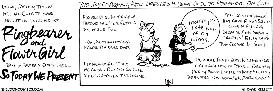 strip for October / 15 / 2008 - What are the joys of asking well-dressed 4-year olds to perform on cue?