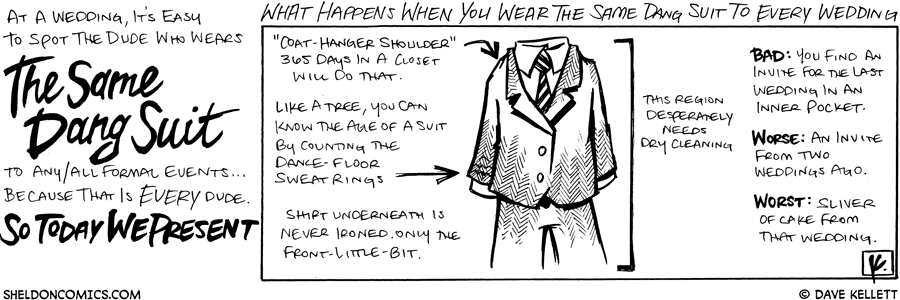 strip for October / 16 / 2008 - What happens when you wear the same suit to every wedding?