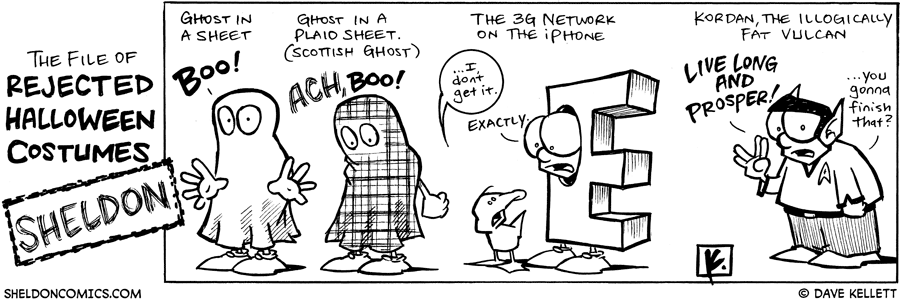 strip for October / 30 / 2008 - What are some of Sheldon's rejected Halloween costumes?