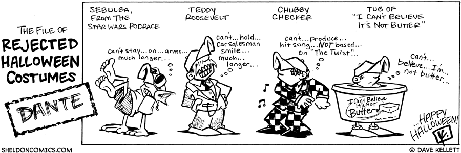 strip for October / 31 / 2008 - What are some of Dante's rejected Halloween costumes?