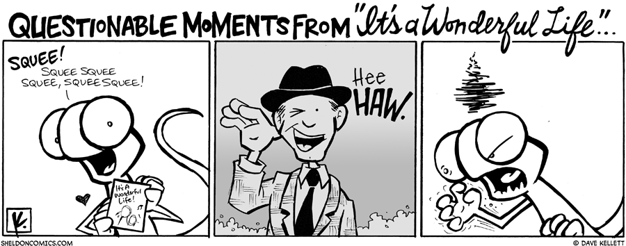 "strip for December / 12 / 2008 - What does Flaco think of ""It's A Wonderful Life?"""