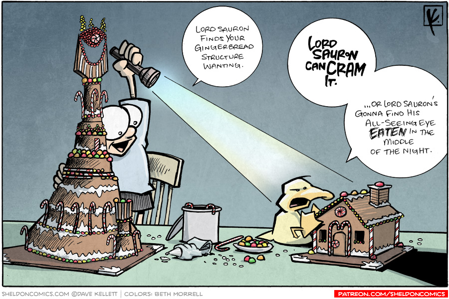 strip for December / 14 / 2008 - Lord Sauron finds your Gingerbread structure...