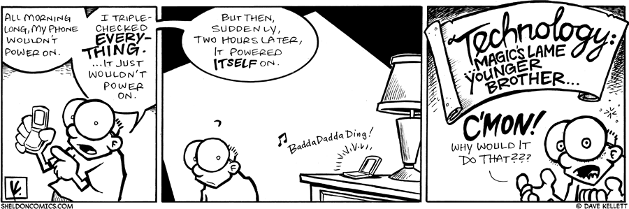 strip for December / 27 / 2008 - What's up with Sheldon's phone?