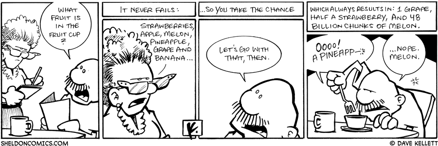 strip for January / 7 / 2009 - What fruit is in the fruit cup?