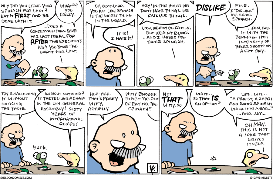strip for January / 11 / 2009 - Why did you leave your spinach for last?
