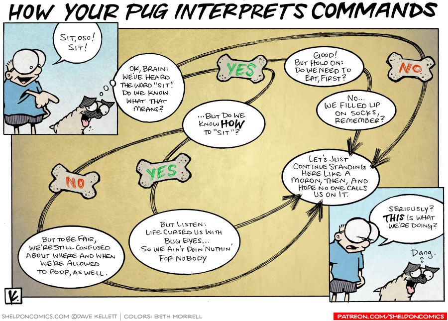 strip for January / 18 / 2009 - How does your dog interpret commands?