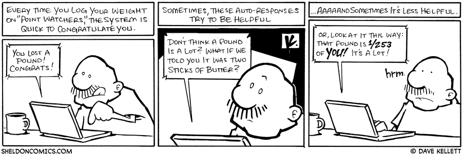 "strip for February / 13 / 2009 - What happens when you log your weight on ""Point Watchers?"""