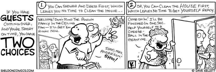 strip for February / 24 / 2009 - What are your two choices if you have guests coming over and you're short on time?