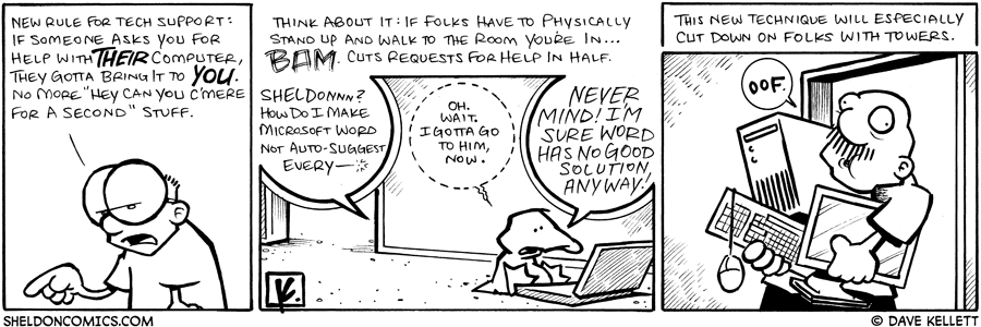 strip for April / 18 / 2009 - What is Sheldon's new rule for tech support?