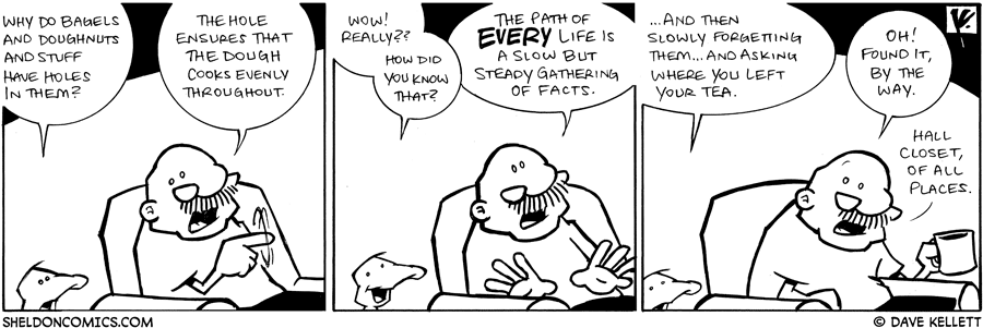 strip for April / 20 / 2009 - Why do Bagels and Doughnuts and stuff have holes in them?