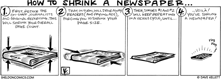 strip for May / 7 / 2009 - How do you shrink a newspaper?