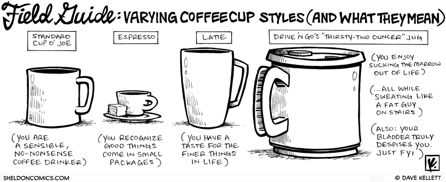 strip for June / 18 / 2009 - Varying coffee cup styles and what they mean...