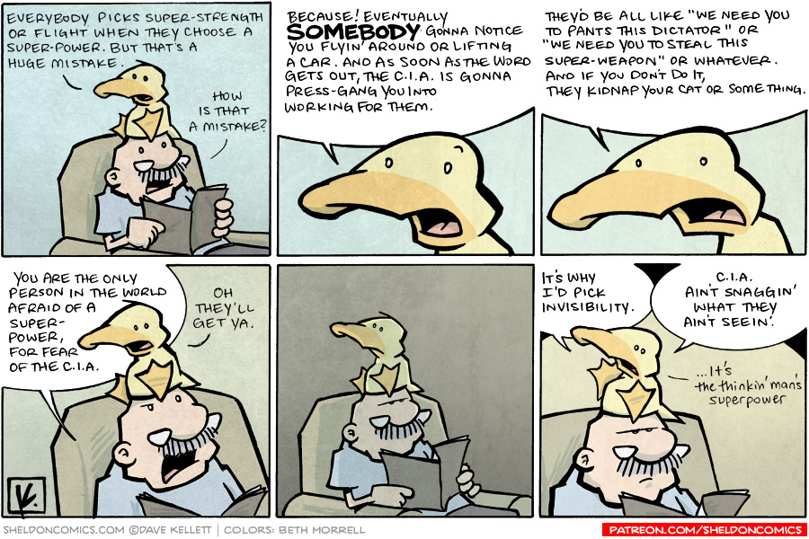 strip for June / 28 / 2009 - How is picking super-strength or flight as a super-power a mistake?