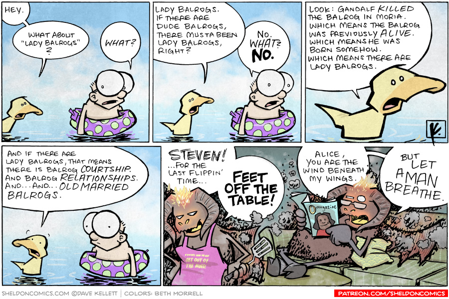 """strip for August / 9 / 2009 - What about """"Lady Balrogs?"""""""