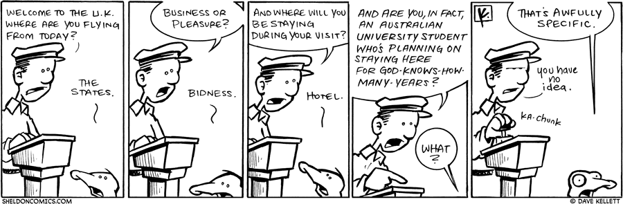 strip for October / 6 / 2009 - Arthur goes through Customs and...